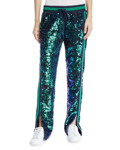 Side-Slit Sequin Velour Track Pants