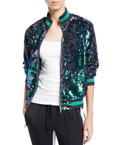 Sequin Velour Zip-Front Track Jacket