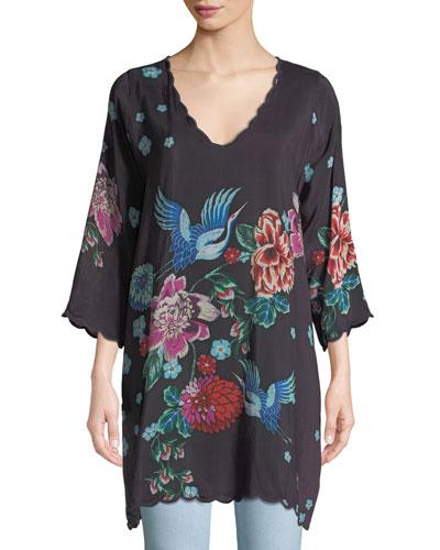 Kota Floral-Print 3/4-Sleeve Tunic