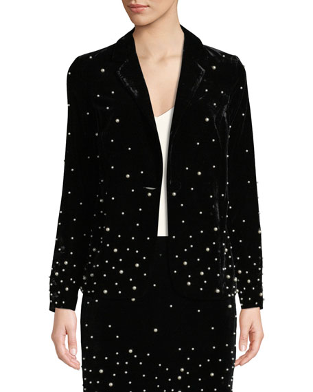 DONNA MIZANI Stardust Pearly-Bead Blazer in Black