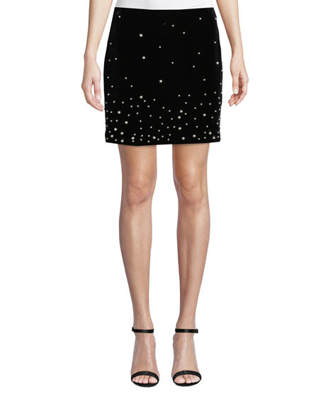 Donna Mizani Stardust Pearly-Bead Mini Skirt