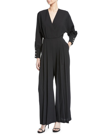 DONNA MIZANI Dean Bead-Cuff Pleated Jumpsuit in Black