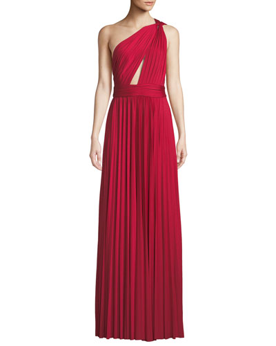 Cibele Pleated 1-Shoulder Jersey Gown