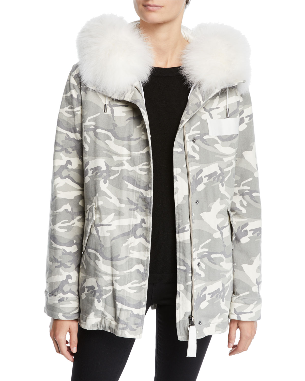 b3101e8e6f6c Yves Salomon - Army Slim Reversible Camo   Fur Puffer Jacket ...