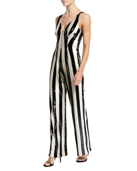 Dress The Population Bobbie Flip Sequin Stripe Jumpsuit