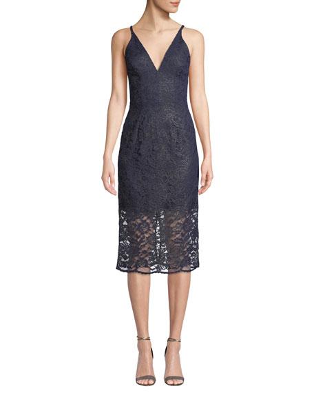 Dress The Population LELANI MINI-ILLUSION CORDED LACE DRESS