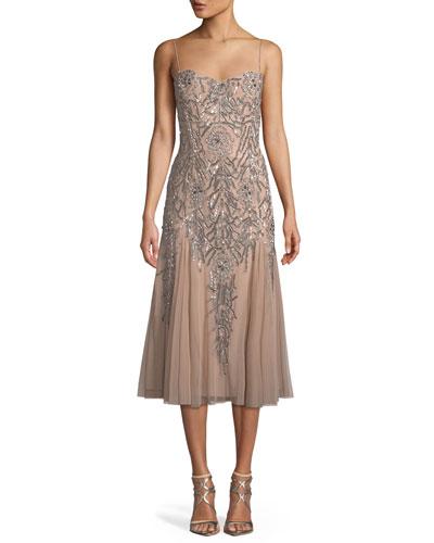 Sleeveless Beaded Midi Dress