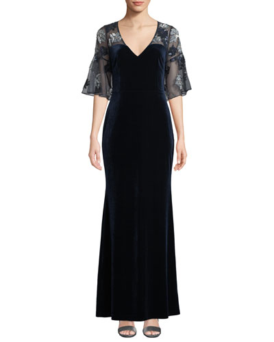 Sheer & Beaded Short-Sleeve Velvet Gown