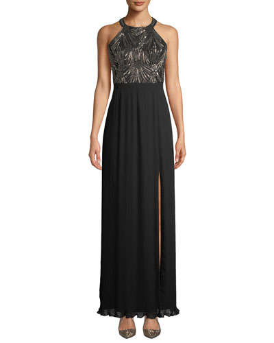 Beaded & Chiffon Pleated Halter Gown