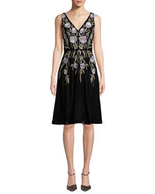 5cfc97a4b91 Aidan Mattox V-Neck 3D Floral Embroidered Velvet Dress w  Pockets