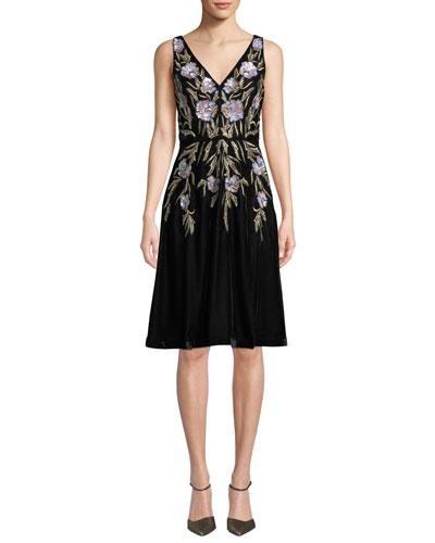 V-Neck 3D Floral Embroidered Velvet Dress w/ Pockets