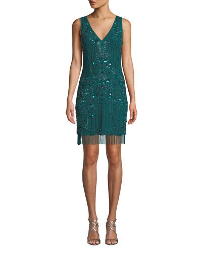 Beaded V-Neck Sleeveless Fringe Dress
