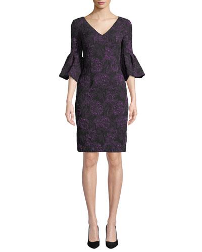 V-Neck Rose-Thread Bell-Sleeve Dress