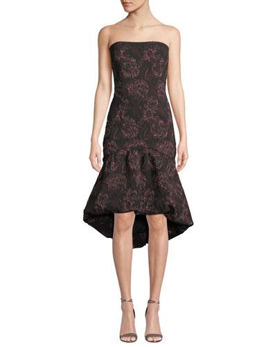 Strapless High-Low Rose-Thread Dress