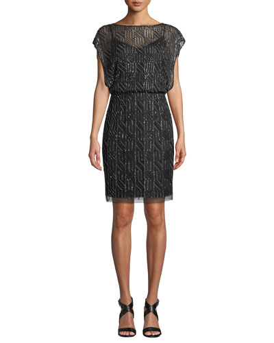 Geometric Beaded Short-Sleeve Blouson Dress