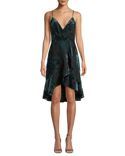 Rose Velvet Flounce Wrap Cocktail Dress