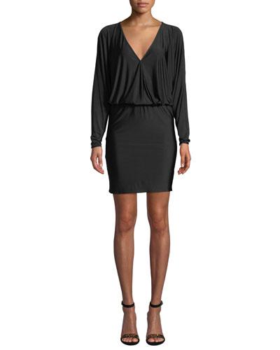 Thomas Long-Sleeve V-Neck Short Dress