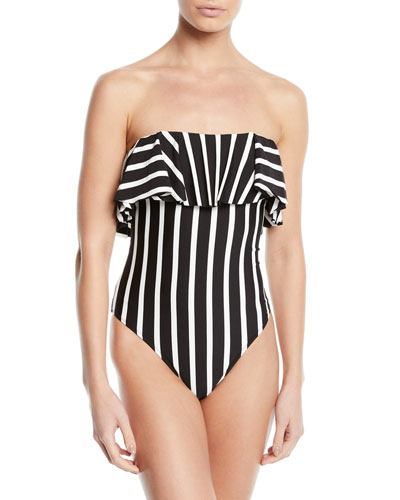 Ruffle-Top Striped One-Piece Bandeau Swimsuit