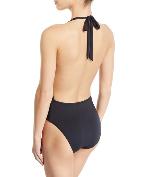 MILLY One-pieces Cross-Back High-Cut Solid One-Piece Swimsuit