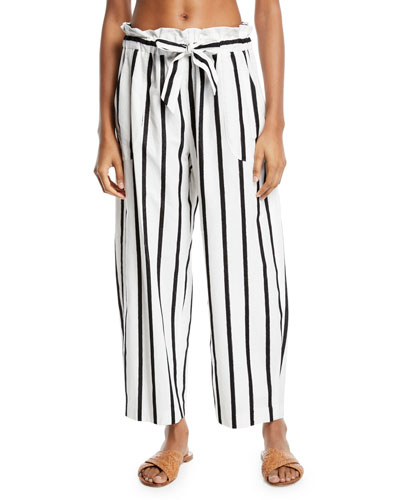 Kori Striped Embroidered Coverup Pants