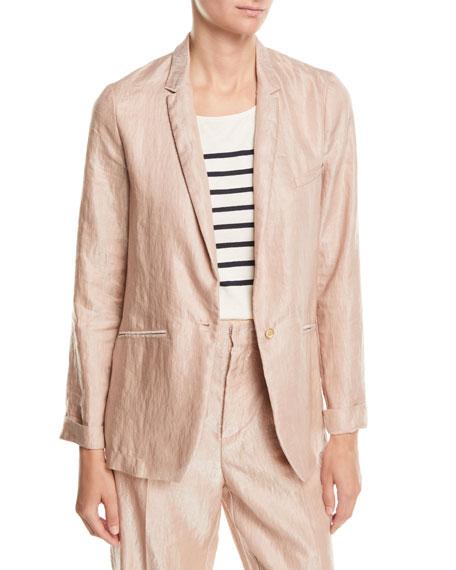 FORTE FORTE Iridescent Linen Satin Single-Button Jacket in Bronze