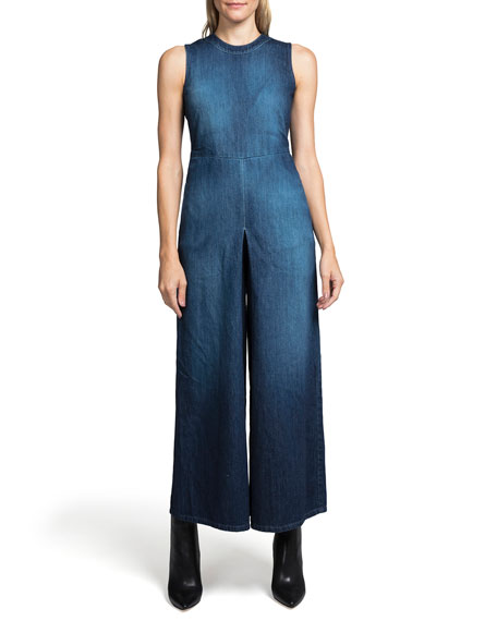Leaf High-Neck Wide-Leg Denim Jumpsuit in Dark Blue