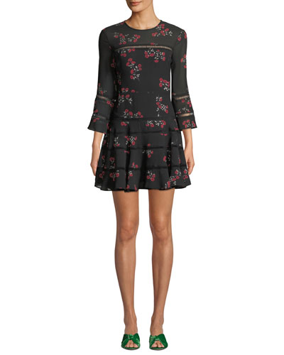 Poppy Floral 3/4-Sleeve Short Flounce Dress