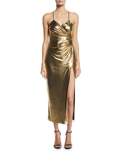 Aurelia Metallic Front-Split Cocktail Dress