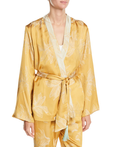 FORTE FORTE Sirena Belted Floral Jacquard Jacket in Yellow