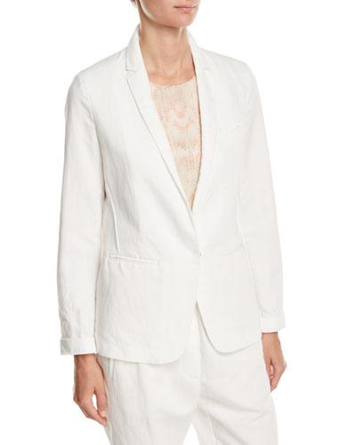 Cotton-Linen Single-Button Jacket
