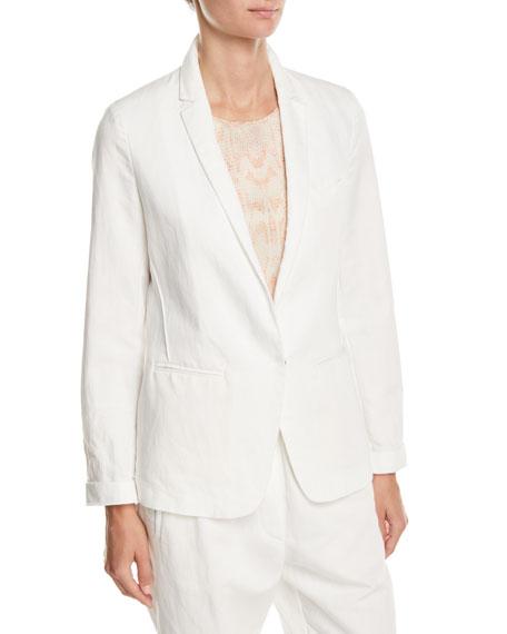 FORTE FORTE Cotton-Linen Single-Button Jacket in White