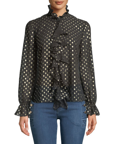 Penelope Metallic Dot-Print Ruffle Long-Sleeve Top