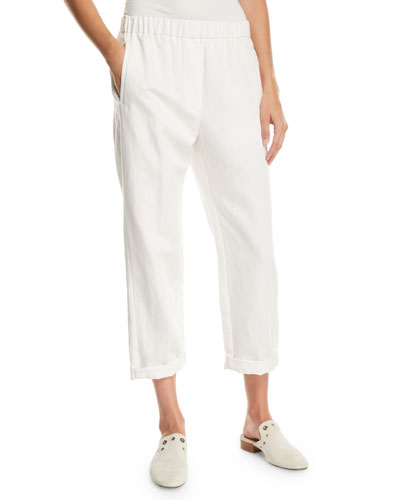 Cotton-Linen Cropped Straight-Leg Pants