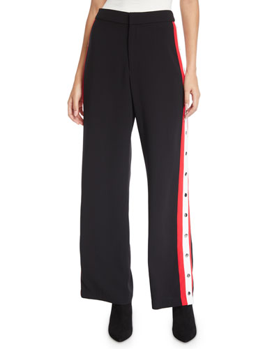 Colorblock Sporty High-Rise Snap Pants