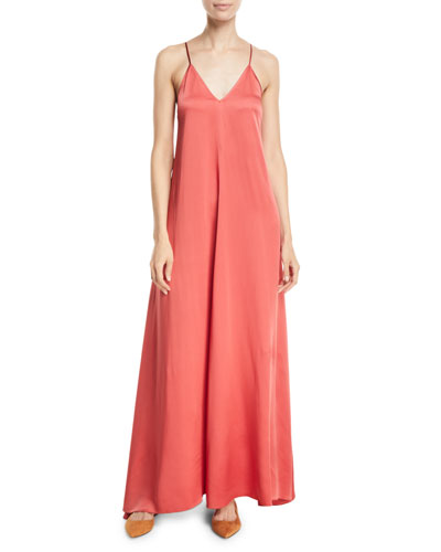 Satin Crepe Long V-Neck Slip Dress