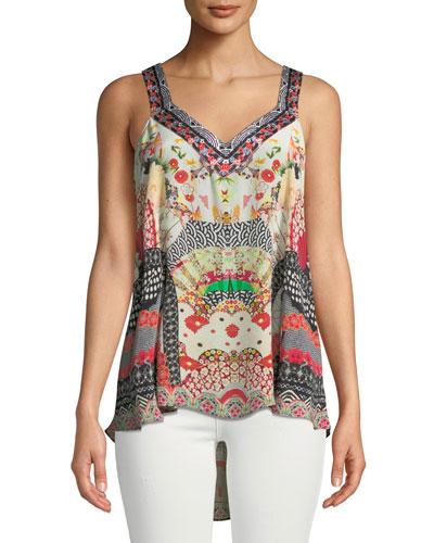 Embellished Silk Printed V-Neck Top