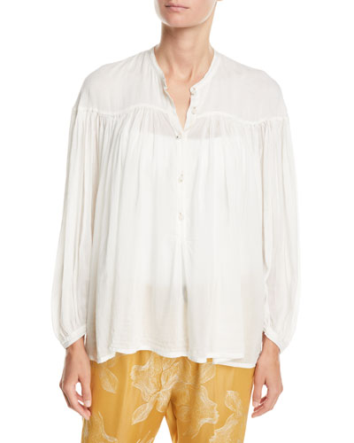Bohemian Cotton-Silk Voile Button-Front Shirt