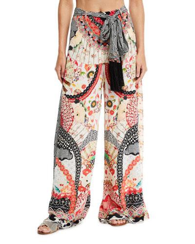 Belted Silk High-Rise Godet Pants