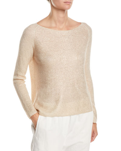 Boat-Neck Long-Sleeve Cashmere-Silk Top
