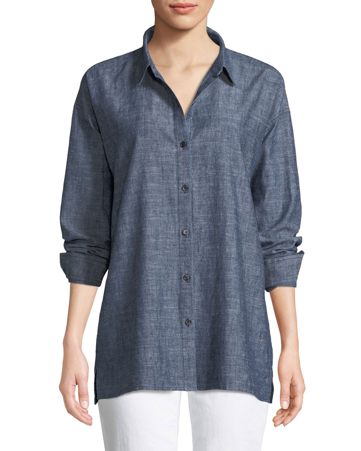 07c186b42c1a55 Eileen Fisher Button-Front Long-Sleeve Chambray Blouse