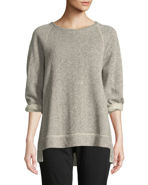 20a30c89e304c Eileen Fisher Petite Boat-Neck 3 4-Sleeve Twisted Terry Organic Cotton Top