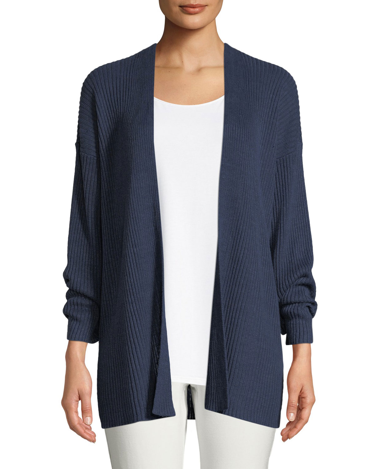 636ea45109a Eileen Fisher Plus Size Organic Linen Ribbed Cardigan