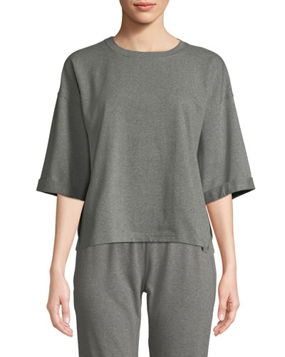 Crewneck Elbow-Sleeve Heathered Jersey-Knit Top