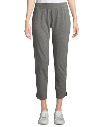 Slim Heathered Stretch Jersey Straight-Leg Ankle Pants