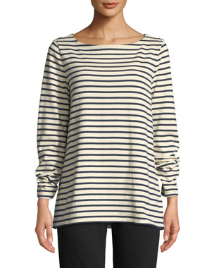 0e603c945067b Eileen Fisher Seaside Striped Organic Cotton Sweater