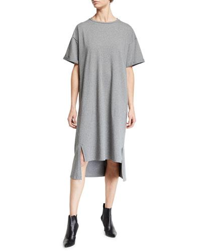 Short-Sleeve Heathered Organic Cotton High-Low Dress