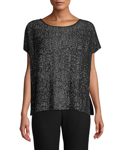 Sleek Tencel Printed Short-Sleeve Sweater