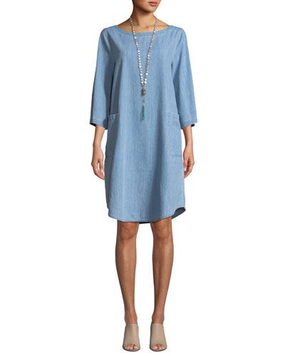 3/4-Sleeve Drapey Denim Dress