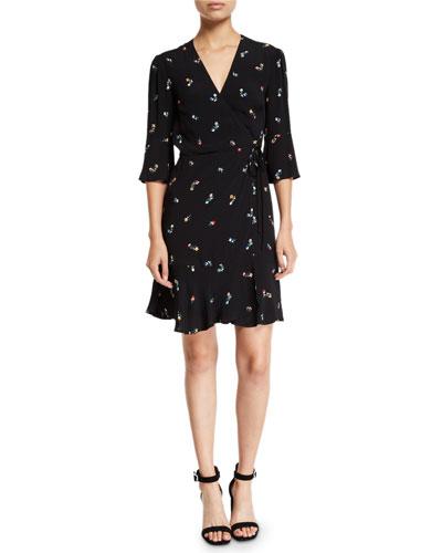 Aimee Floral 3/4-Sleeve Wrap Dress