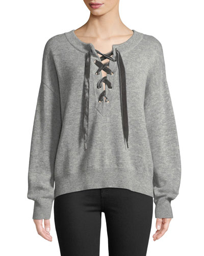 Olivia Lace-Up Wool-Cashmere Sweater